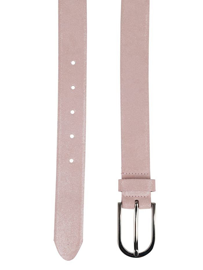 Leather belt in a shimmering finish