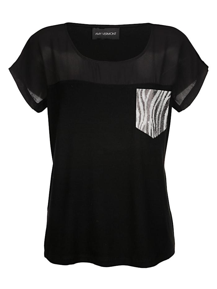AMY VERMONT Shirt mit Faketasche aus Strasssteinen, Schwarz