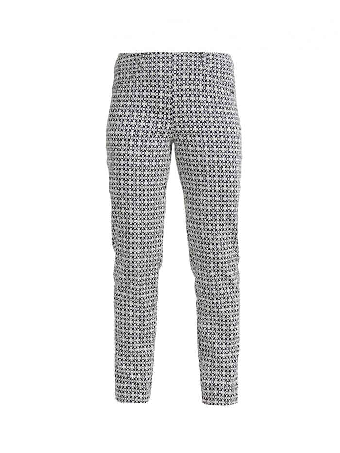 LauRie Stoffhose Kelly mit elastischem Bund, Off White / Navy jacquard