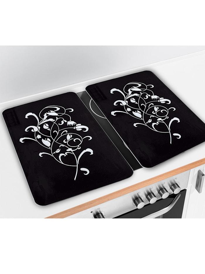 2er-Set Kochfeld-Abdeckplatten 'Ornamento Nero'