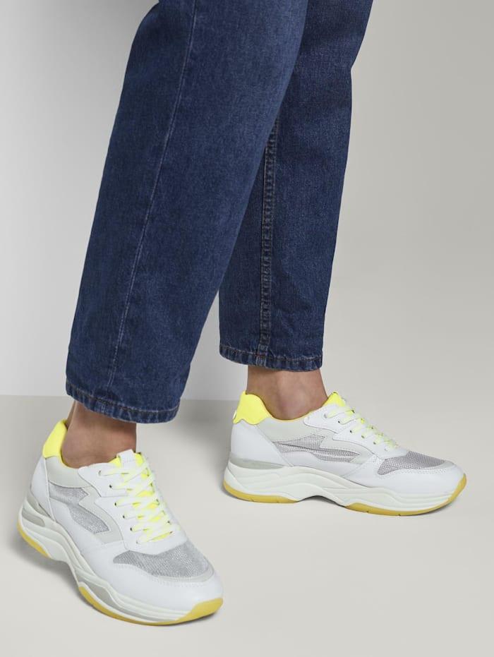 Tom Tailor Denim Sneaker mit Neon-Details, white