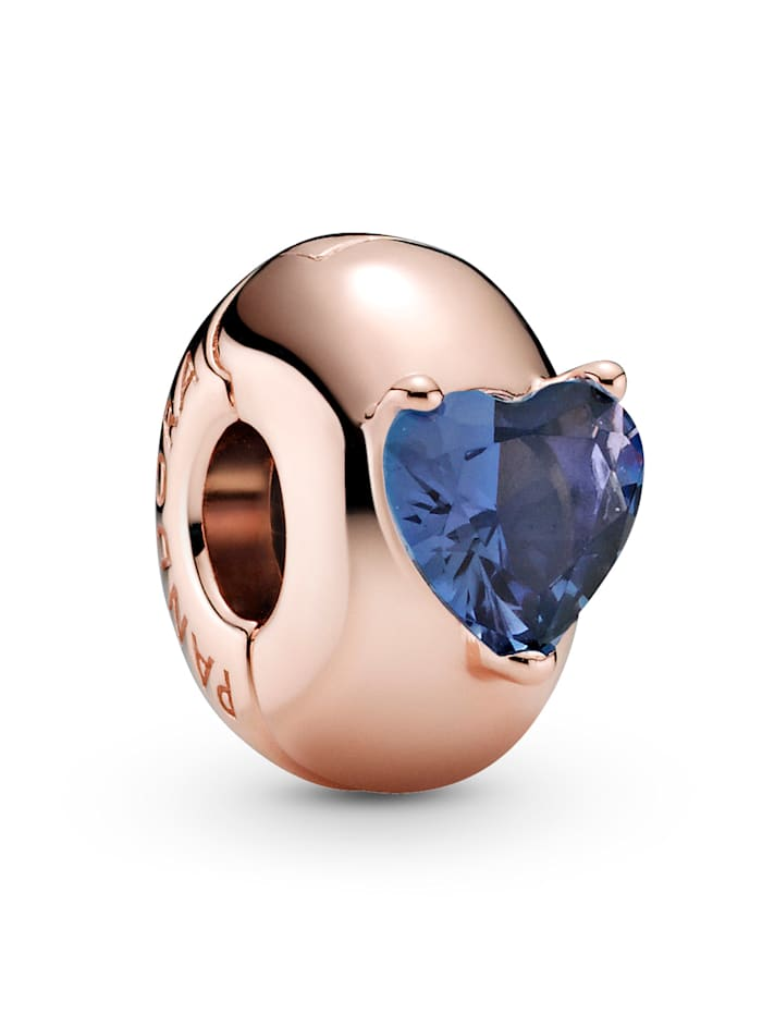Pandora Clip-Charm - Blaues Herz Solitär - 789203C02, Rosé