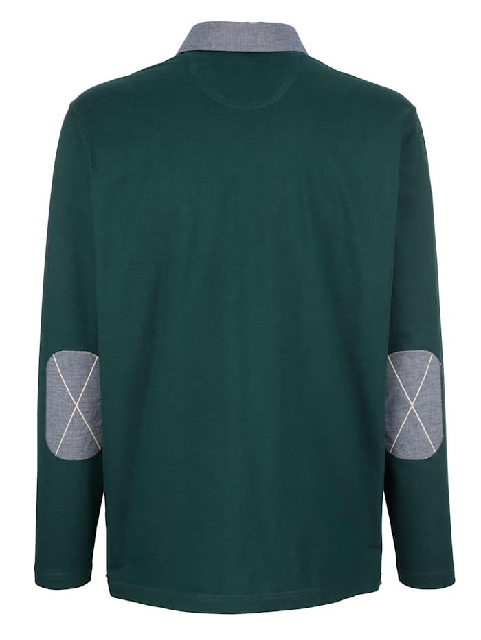 Poloshirt met details van chambray