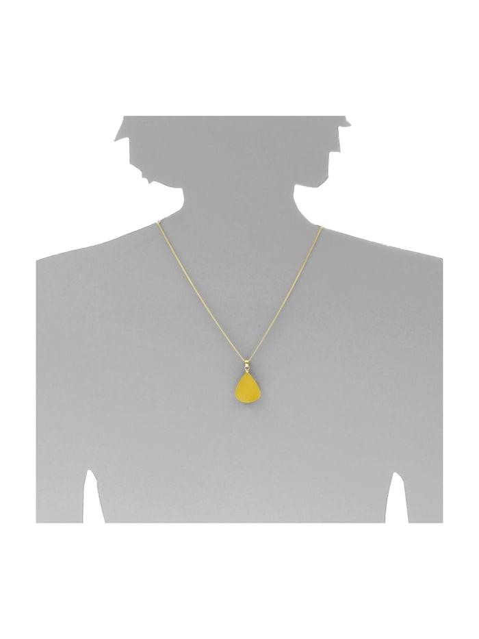 Kette mit Anhänger - Tropfen flach, ca. 22 mm lang - Silber 925/000, vergoldet - Bernstein