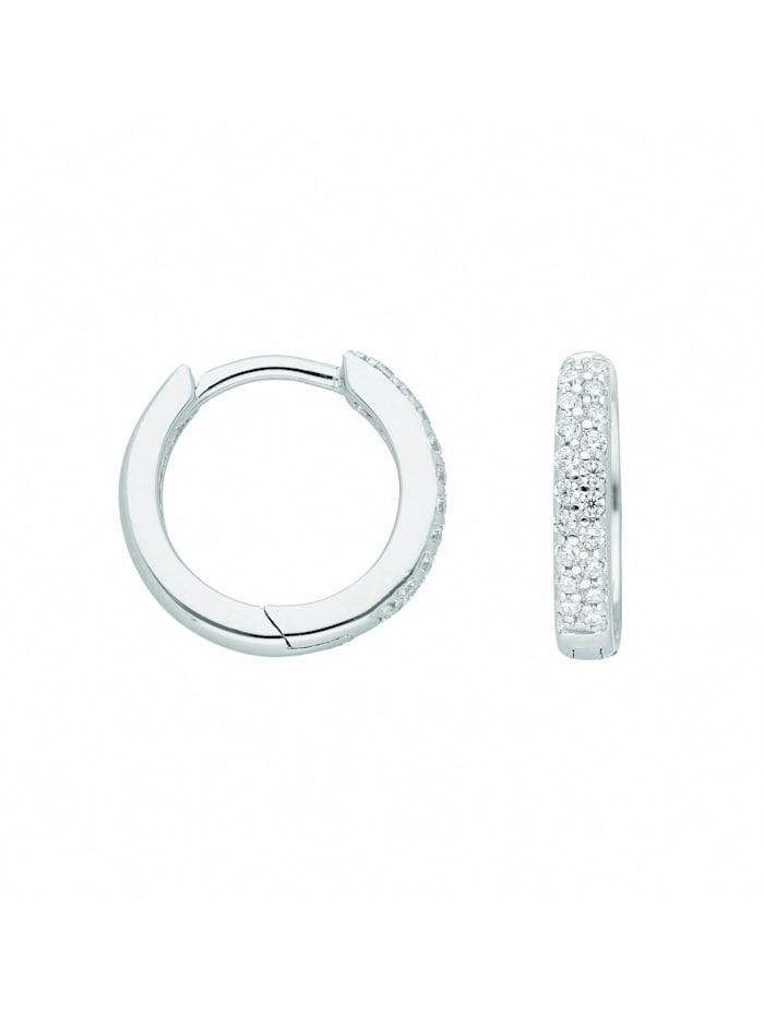 1001 Diamonds Damen Silberschmuck 925 Silber Ohrringe / Creolen mit Zirkonia Ø 13,1 mm, silber