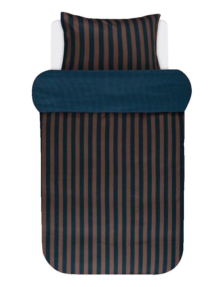 Marc O'Polo Satin Bettwäsche 'Classic Stripe', Marine/Earthbrown
