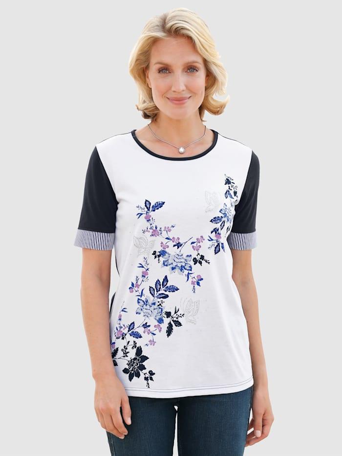 Paola Shirt mit floralem Druckmotiv, Weiß/Marineblau