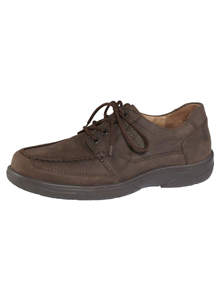 Waldläufer Šněrovací obuv s klasickými mokasínovými švy, Tmavá hnědá