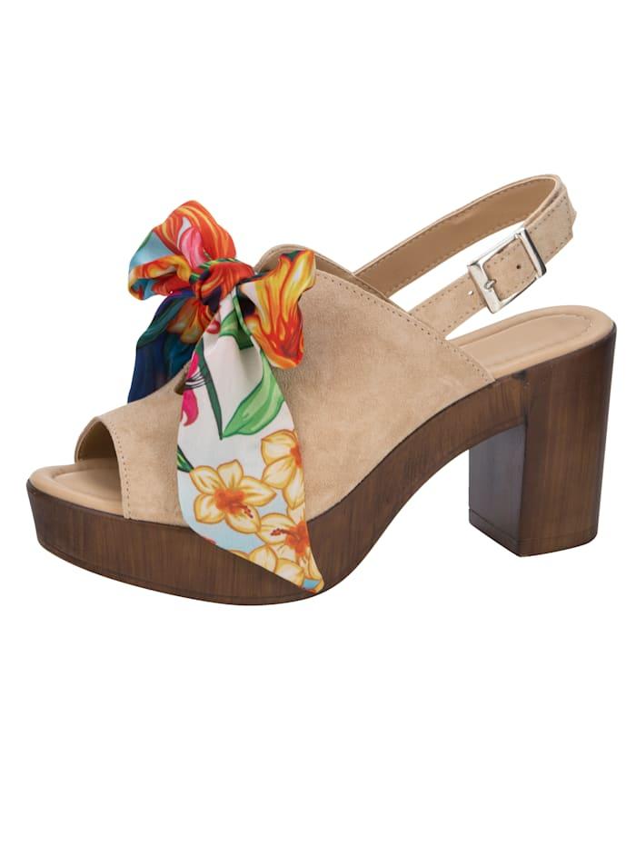 Sandales à plateau avec laçage floral en satin, Sable