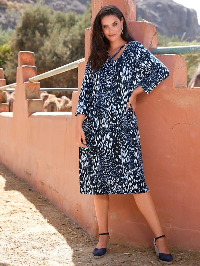 MIAMODA Kleid mit Dekobändern am Ausschnitt, Blau/Schwarz/Weiß