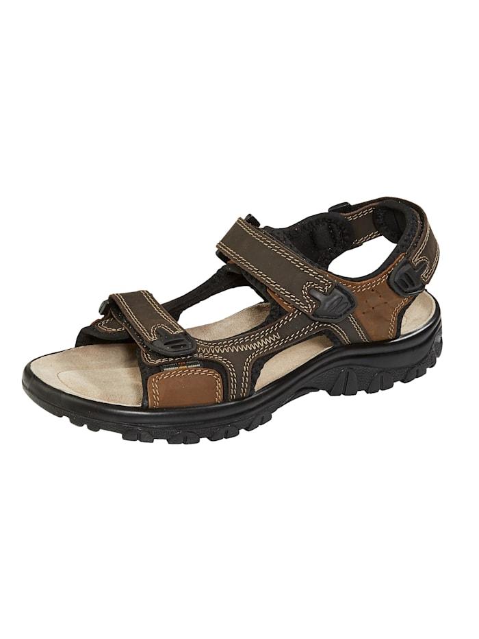 Sandale mit Ziersteppnähten, Dunkelbraun