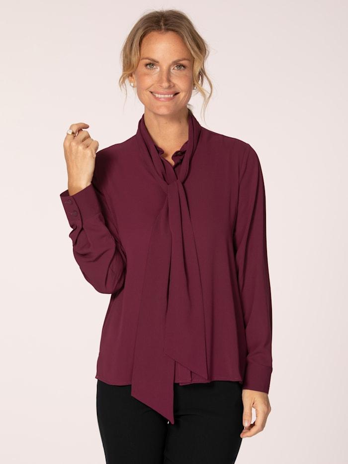 MONA Tie neck blouse in a versatile design, Bordeaux