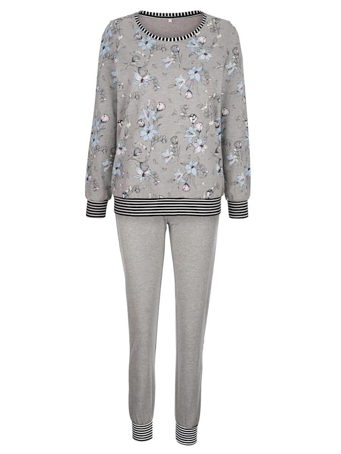 Blue Moon Schlafanzug mit trendigen Bündchenabschlüssen, grau meliert/ecru/marine