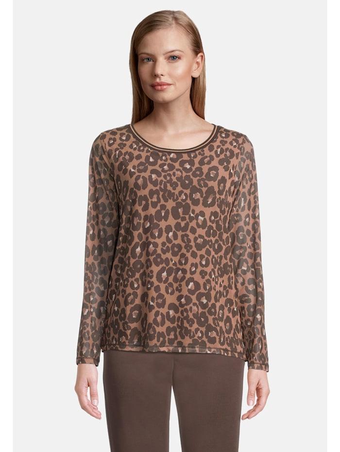 Betty & Co Mustermix-Shirt mit Animalprint, Beige
