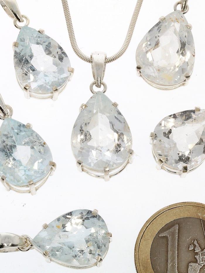 1001 Diamonds Damen Schmuck Edelstein Topas Anhänger 925 Silber transparent, transparent