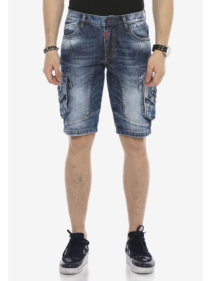 Cipo & Baxx Jeans-Shorts mit Cargotaschen, Blau