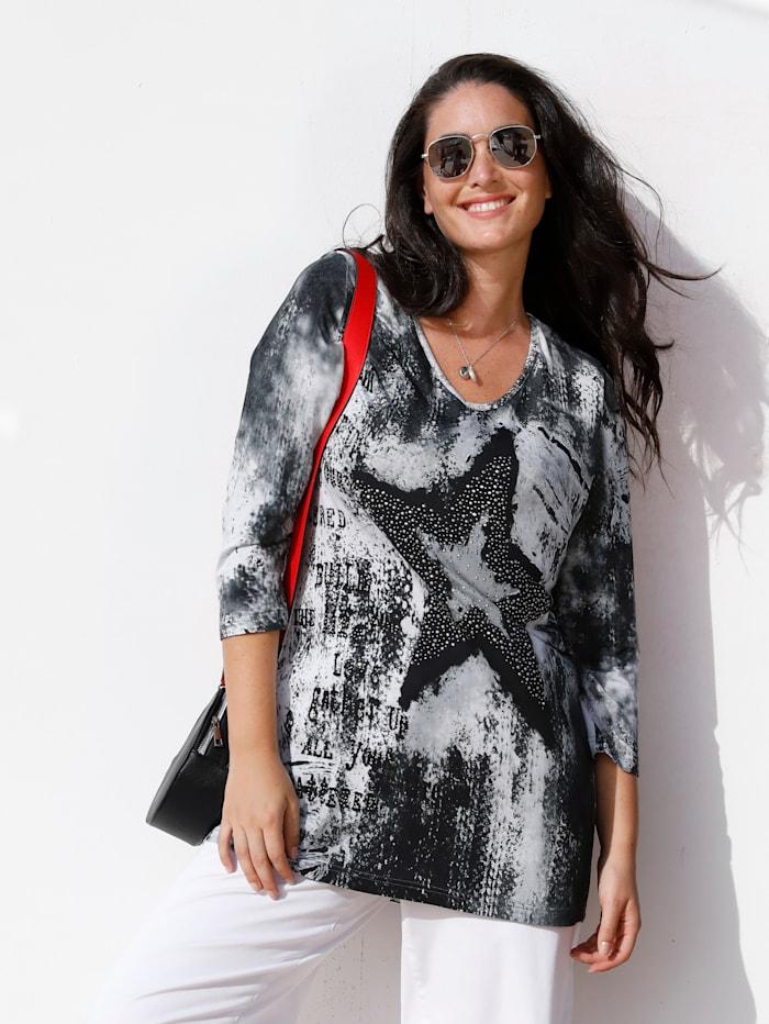 MIAMODA Shirt Met flatterende V-hals, Grijs/Wit/Zwart