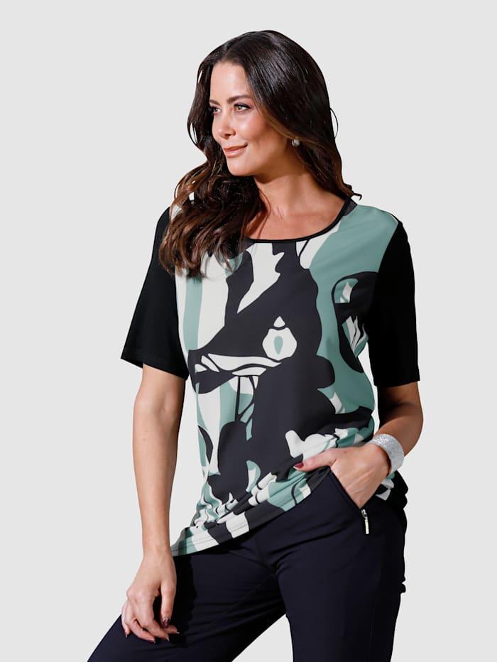 MIAMODA Shirt mit grafischem Druck im Vorderteil, Grün/Schwarz/Weiß