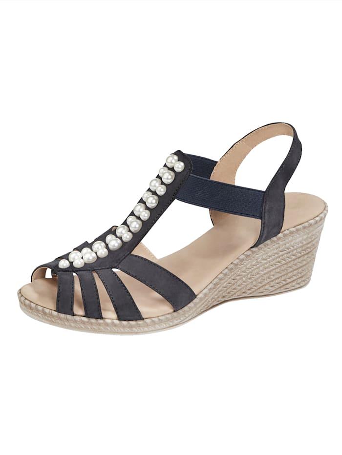 Sandale mit toller Perlenapplikation, Dunkelblau
