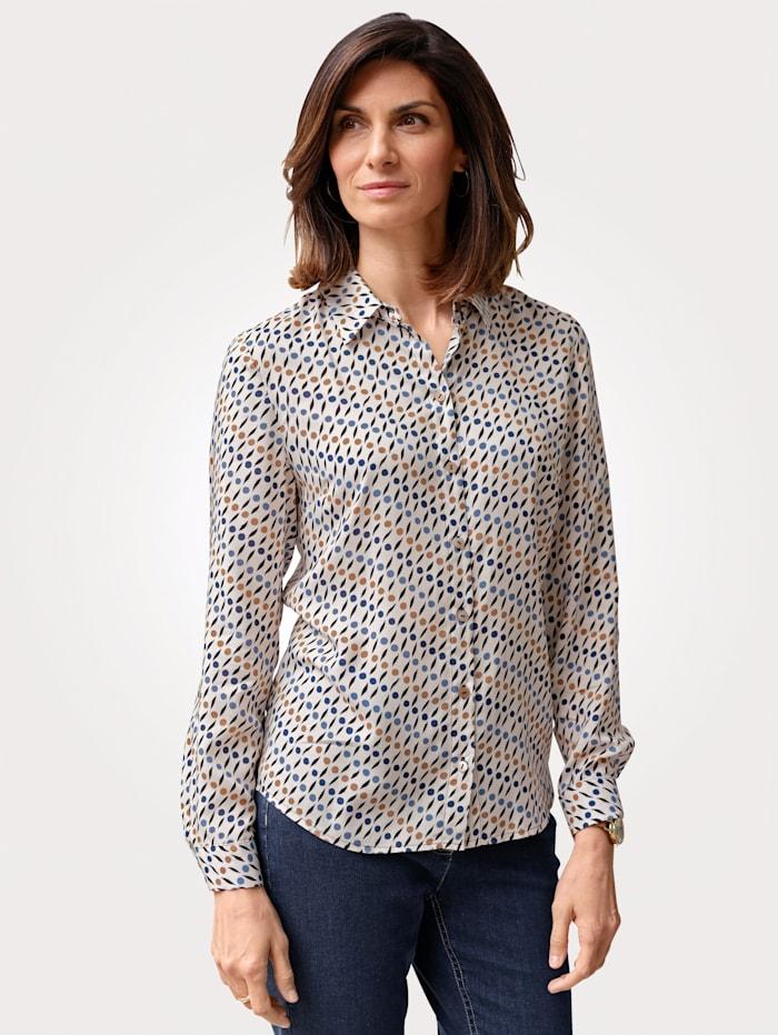 MONA Bluse mit grafischem Muster, Ecru/Hellblau/Beige