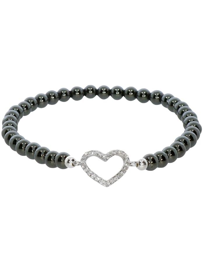 1001 Diamonds Herz Hämatit Armband 925 Silber 17 cm, grau