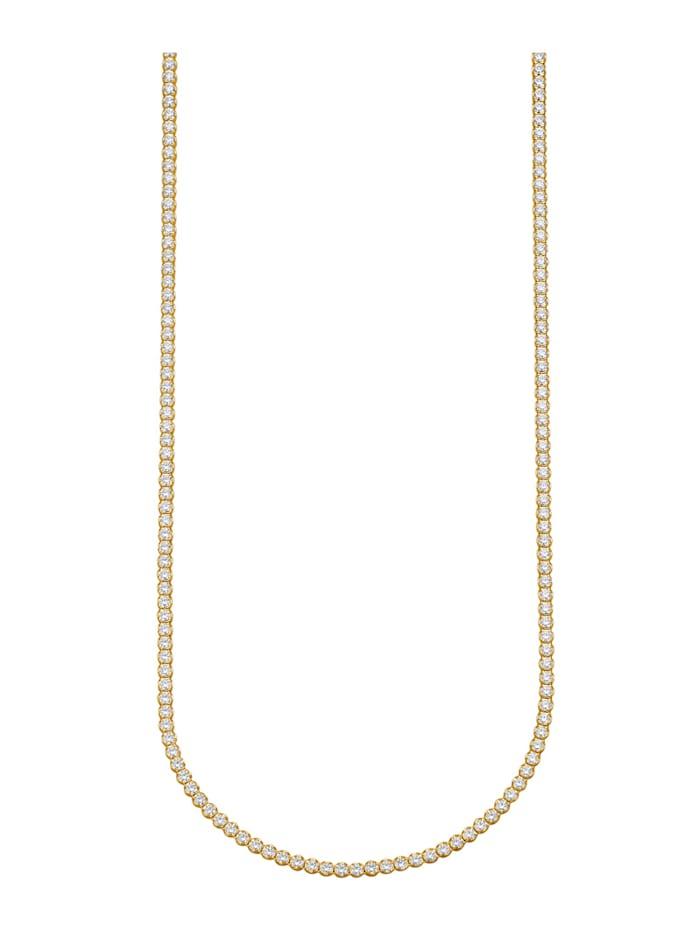 Halskette mit Zirkonia, Gelbgoldfarben