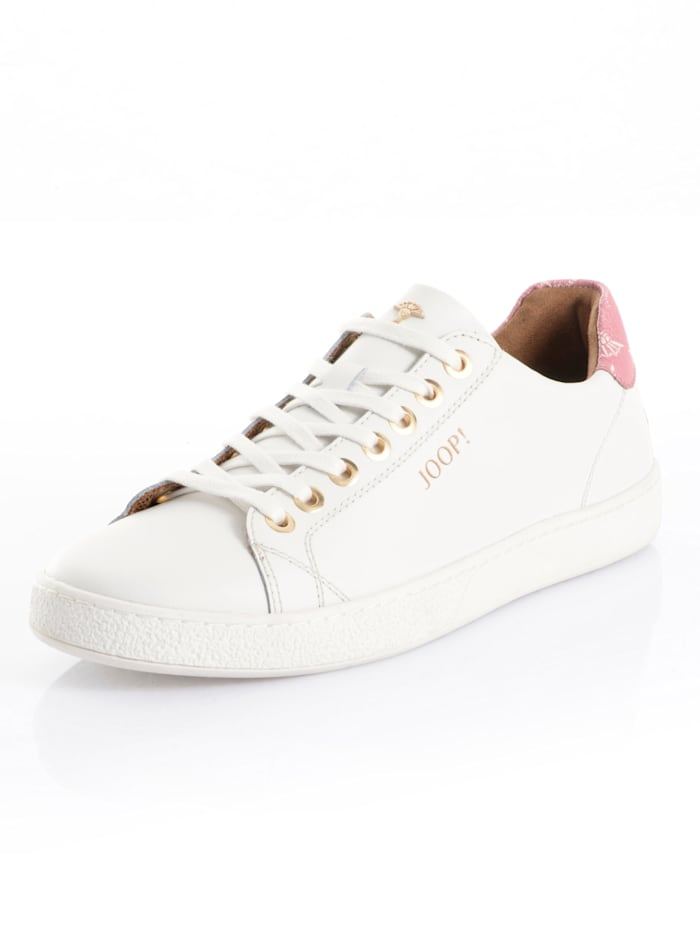 JOOP! Sneaker aus edlem Leder, Weiß/Bordeaux