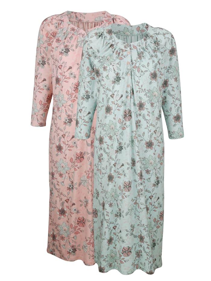 Harmony Nachthemden per 2 stuks met plooitjes voor, Mint/Roze
