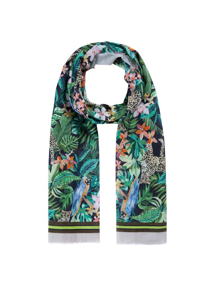 Codello Exotik-Schal aus feiner Sommer-Baumwolle, green