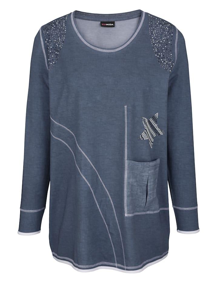 MIAMODA Shirt mit dekorativen Nietendetails, Blau