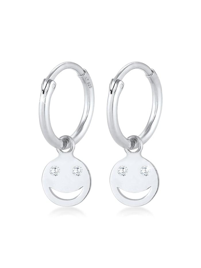 Elli Ohrringe Creolen Smiley Emoji Plättchen Trend 925 Silber, Silber