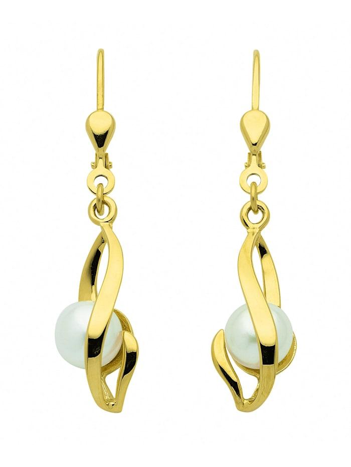 1001 Diamonds Damen Goldschmuck 333 Gold Ohrringe / Ohrhänger mit Süßwasser Zuchtperle, gold