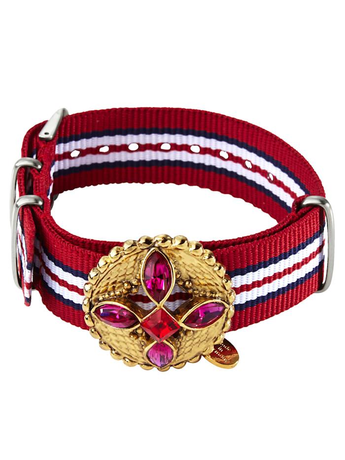 gabriele frantzen Armband mit goldfarbener Brosche, Rot/Weiß/Blau/Silberfarben