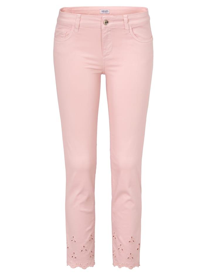 LIU JO Jeans mit Spitze am Saum, Rosé