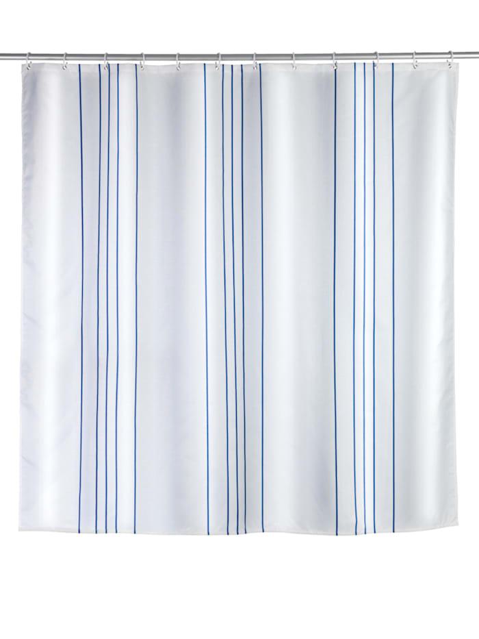 Wenko Duschvorhang Linen Blue, Textil (Polyester), 180 x 200 cm, waschbar, Mehrfarbig