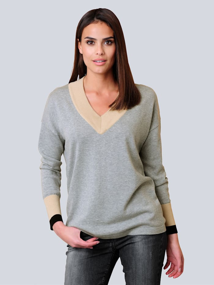 Alba Moda Pullover mit Colour-Blocking, Grau/Stein