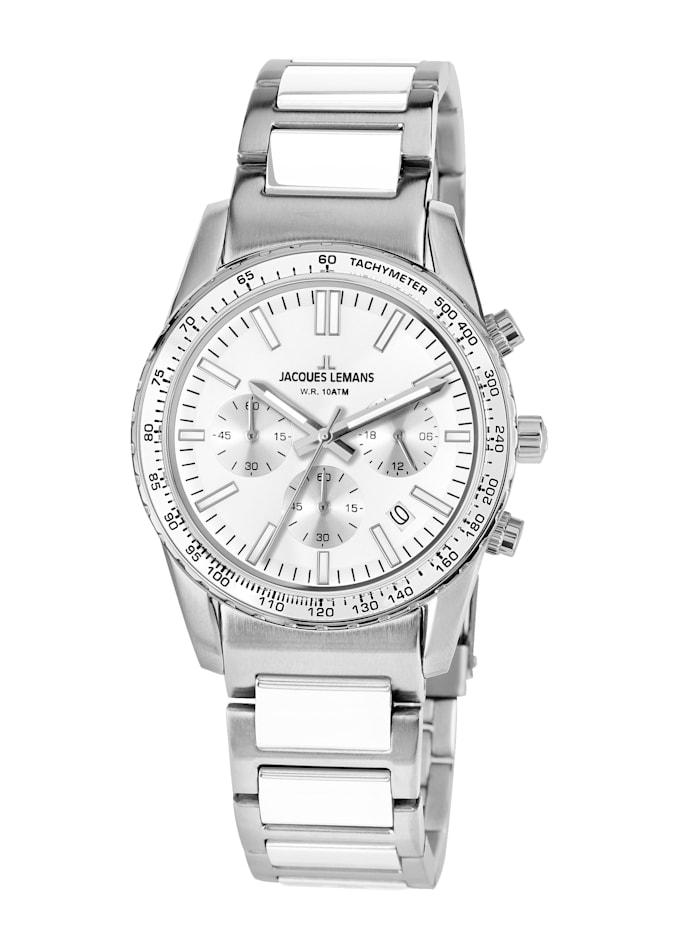Jacques Lemans Unisex-Uhr Chronograph Serie: Liverpool, Kollektion: Sport Hinweis 1-2059H, Silberfarben/Weiß