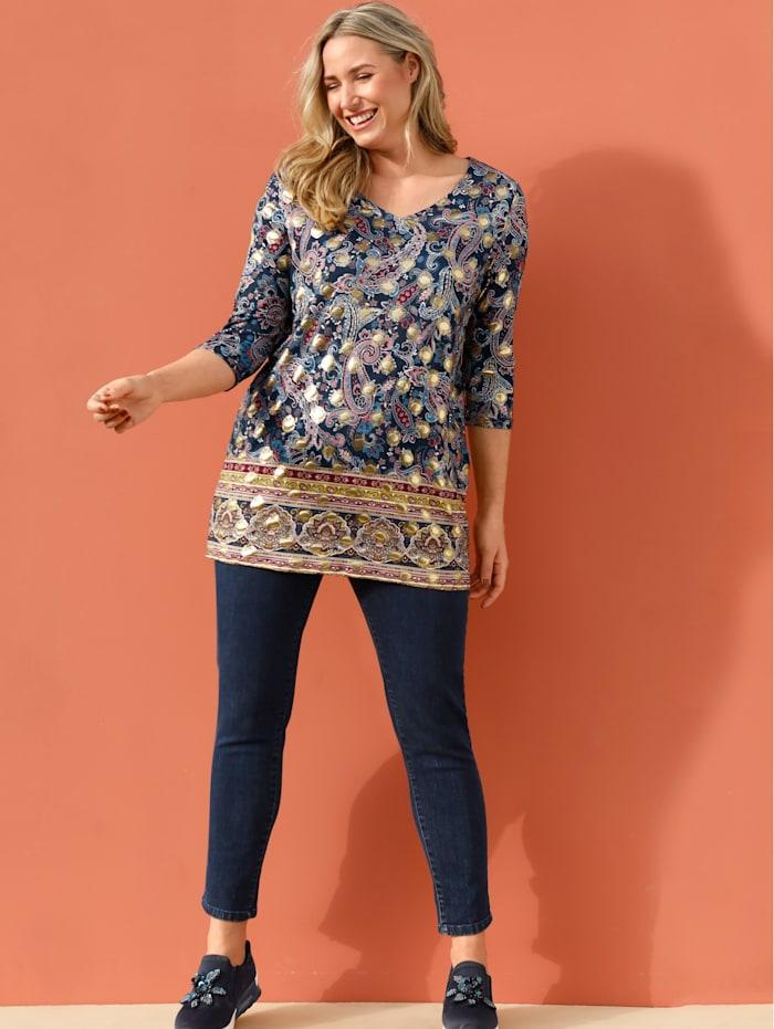 MIAMODA Longshirt mit modischem Paisleymuster, Multicolor