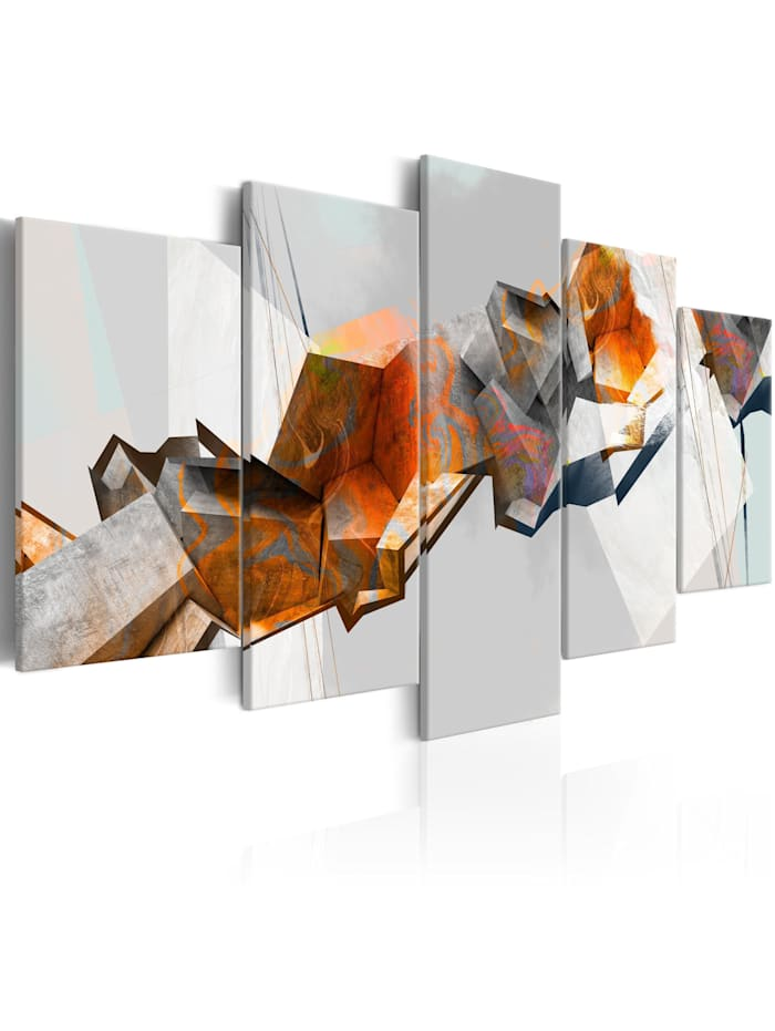 artgeist Wandbild Fiery Blocks, Grau,Orange,Weiß