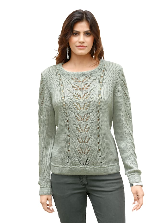AMY VERMONT Pullover mit Lochstrick-Muster, Salbeigrün