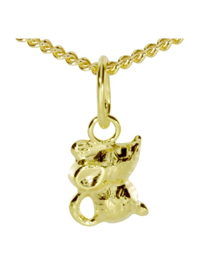 OSTSEE-SCHMUCK Kette mit Anhänger - Mäuschen - Gold 333/000 - ,, gold