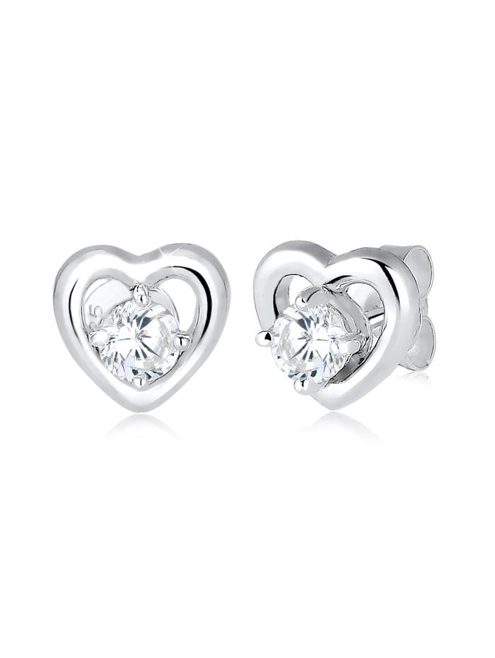 Elli Ohrringe Doppelstecker Abnehmbar Herz Zirkonia 925 Silber, Silber
