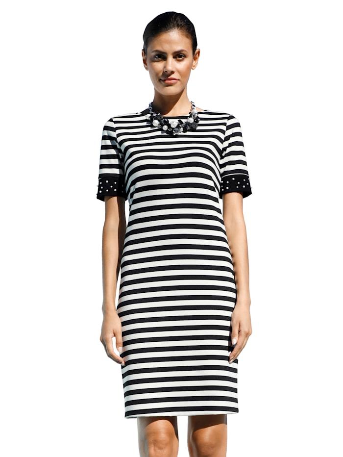AMY VERMONT Jersey jurk met kraaltjes, Zwart/Wit