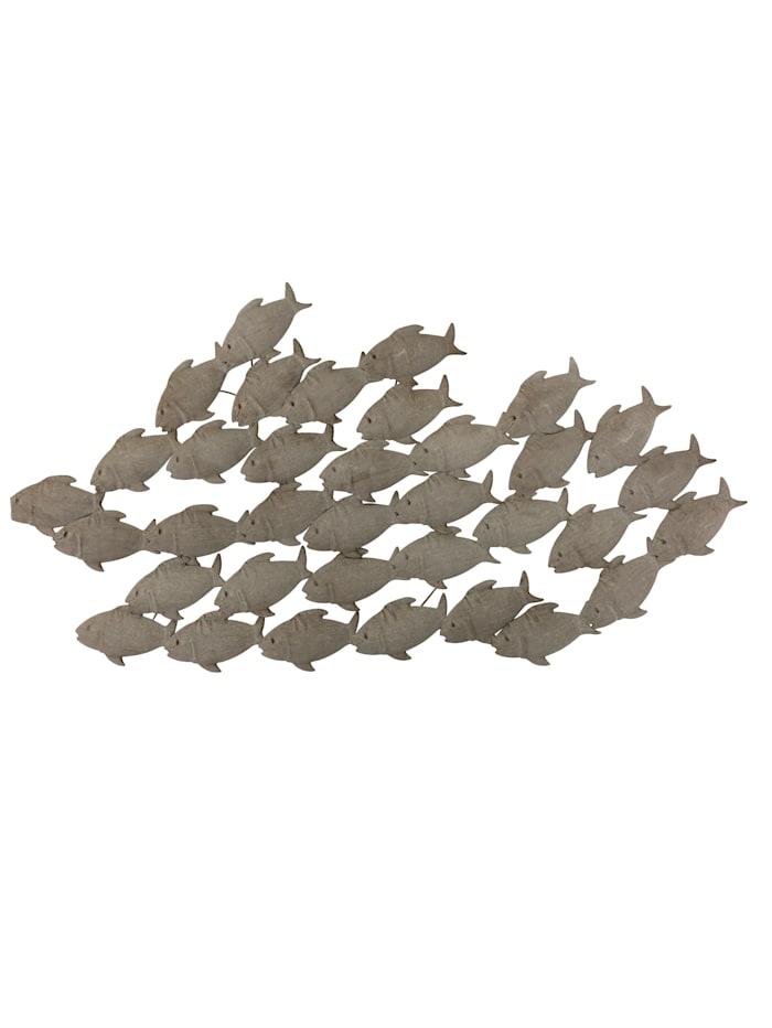 Boltze Wand-Deko, Fischschwarm, grau