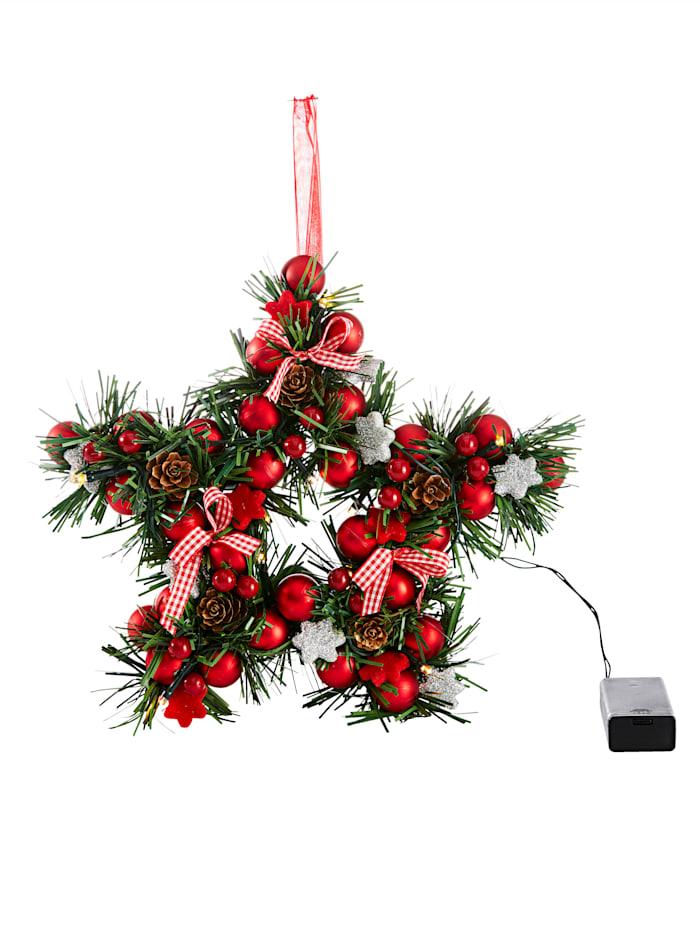 HELU Krans -Stjerne- med LED-belysning, flerfarget