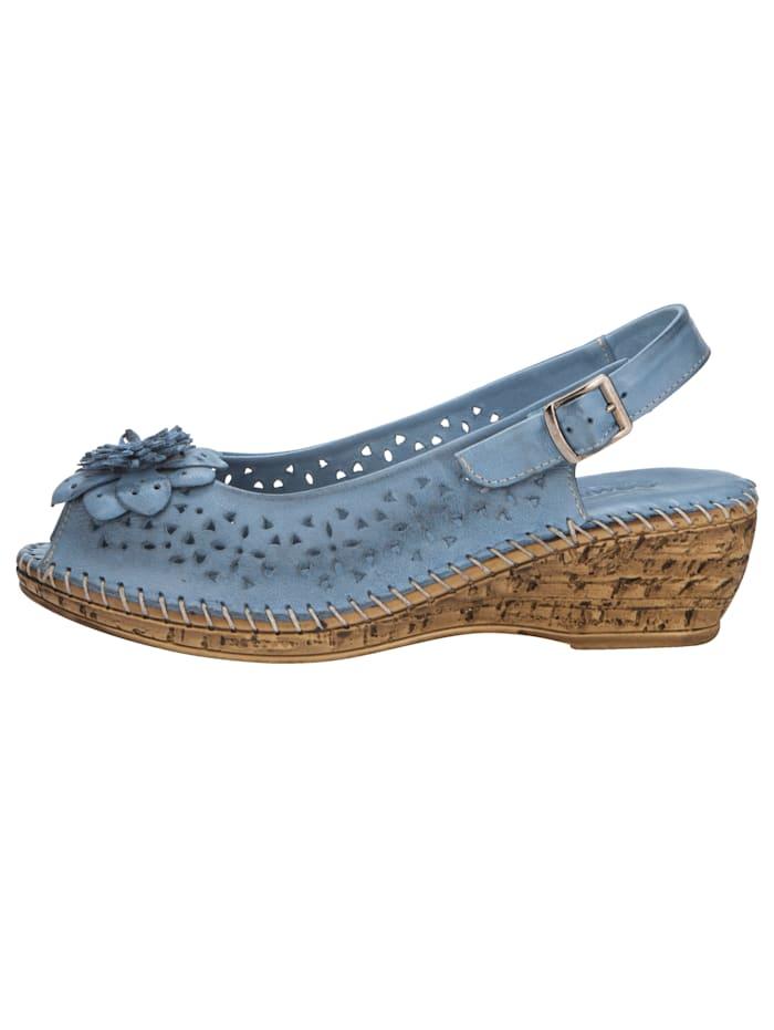 Sandales compensées avec dentelle et application florale