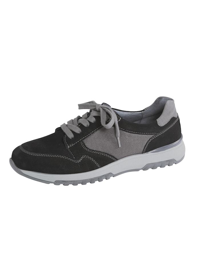 Waldläufer Sneakers en cuir et mesh, Noir/Gris