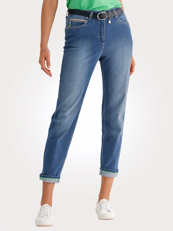MONA Jeans with neon details, Blue