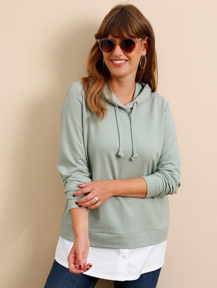 MIAMODA Sweatshirt mit abnehmbarem Bluseneinsatz, Mintgrün