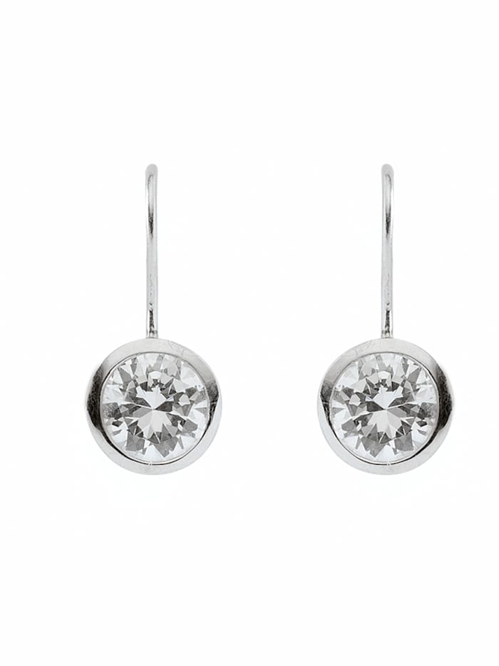 1001 Diamonds Damen Silberschmuck 925 Silber Ohrringe / Ohrhänger mit Zirkonia Ø 9,8 mm, silber